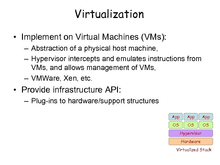 Virtualization • Implement on Virtual Machines (VMs): – Abstraction of a physical host machine,