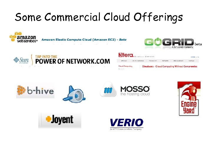 Some Commercial Cloud Offerings 35