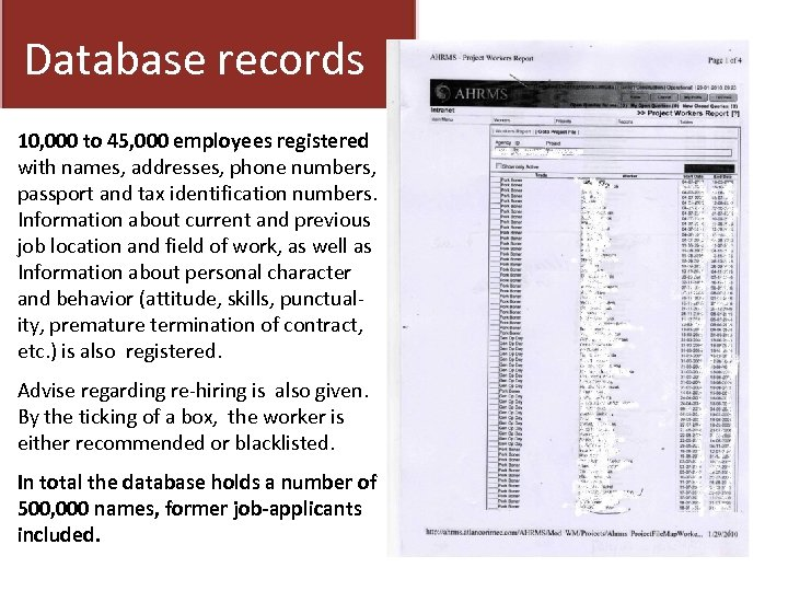 Database records 10, 000 to 45, 000 employees registered with names, addresses, phone numbers,