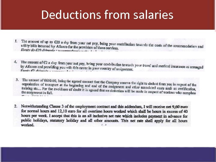 Deductions from salaries
