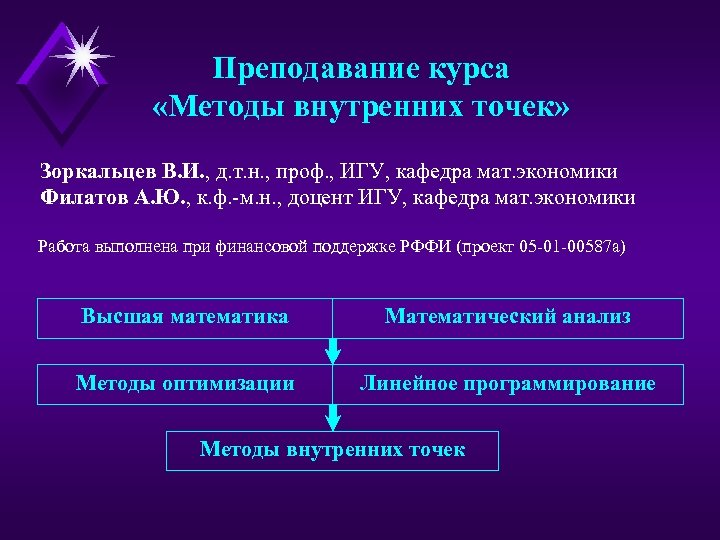 Преподавание курса «Методы внутренних точек» Зоркальцев В. И. , д. т. н. , проф.