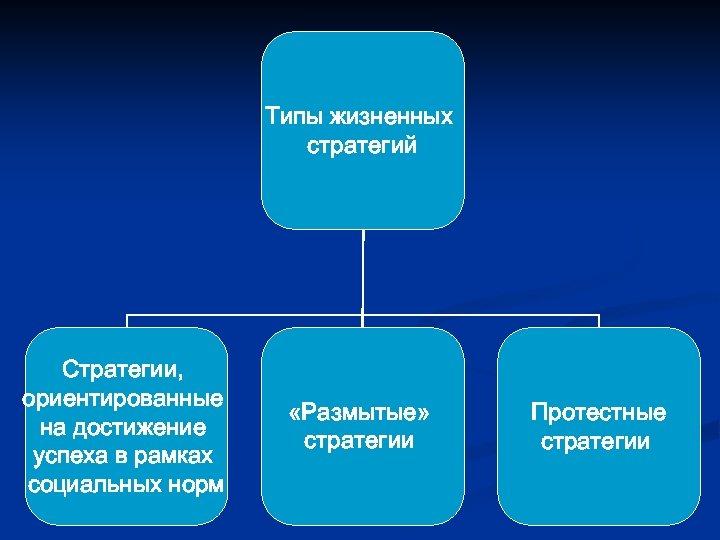Типы жизненных стратегий Стратегии, ориентированные на достижение успеха в рамках социальных норм «Размытые» стратегии