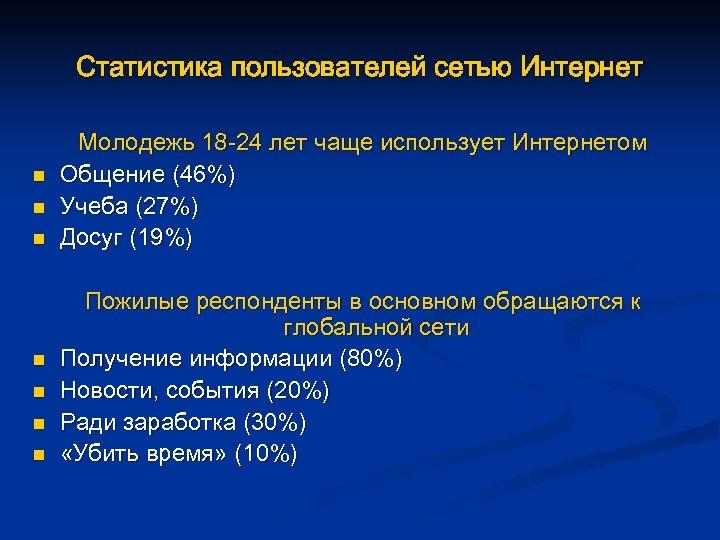 Статистика пользователей сетью Интернет n n n n Молодежь 18 -24 лет чаще использует