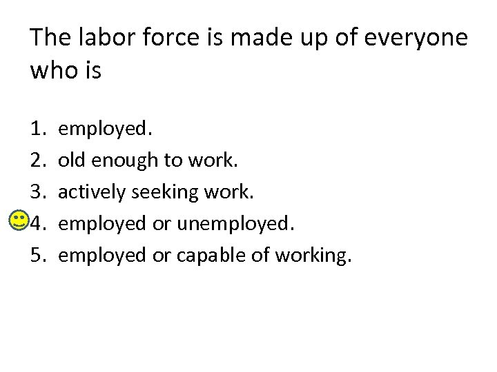The labor force is made up of everyone who is 1. 2. 3. 4.