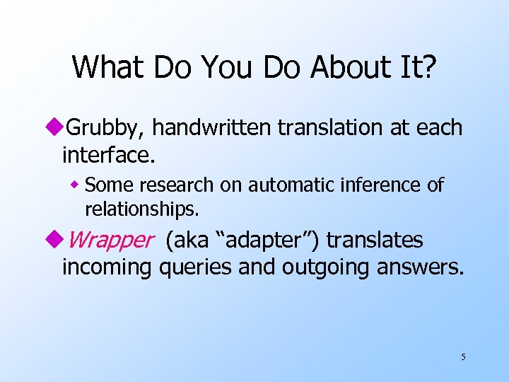 What Do You Do About It? u. Grubby, handwritten translation at each interface. w