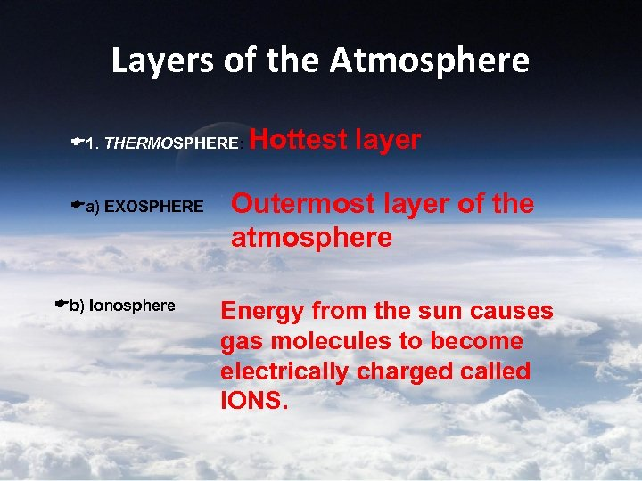 Layers of the Atmosphere 1. THERMOSPHERE: a) EXOSPHERE b) Ionosphere Hottest layer Outermost layer