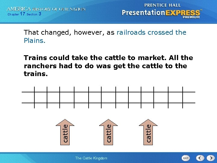 17 Section 3 That changed, however, as railroads crossed the Plains. The Cattle Kingdom