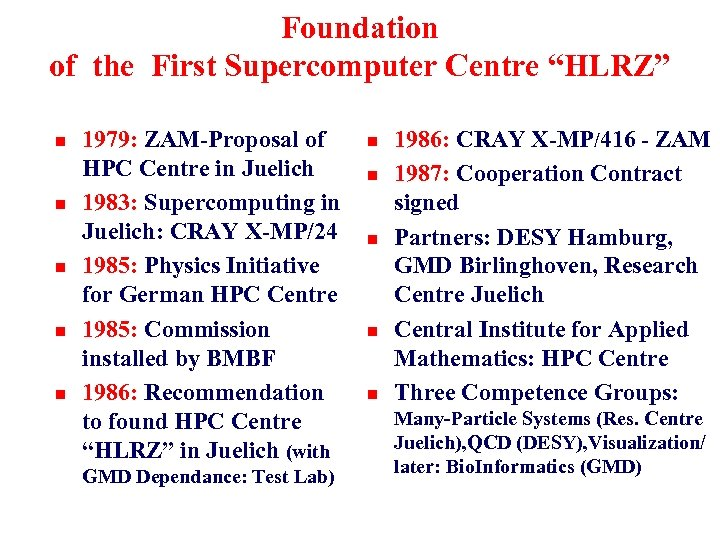 "Foundation of the First Supercomputer Centre ""HLRZ"" n n n 1979: ZAM-Proposal of HPC"