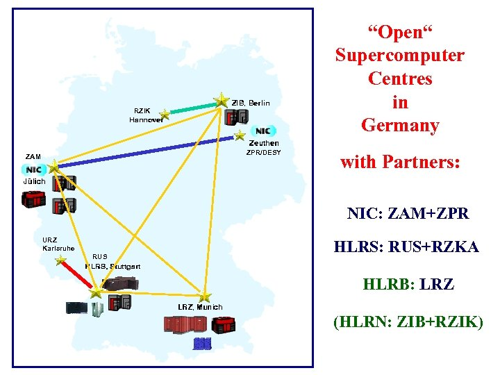 """Open"" Supercomputer Centres in Germany RZIK ZPR/DESY ZAM with Partners: NIC: ZAM+ZPR URZ Karlsruhe"