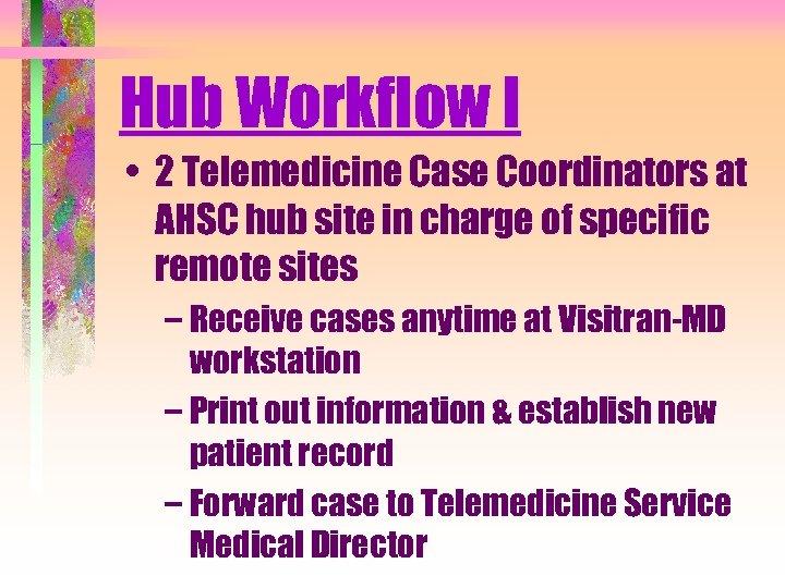 Hub Workflow I • 2 Telemedicine Case Coordinators at AHSC hub site in charge