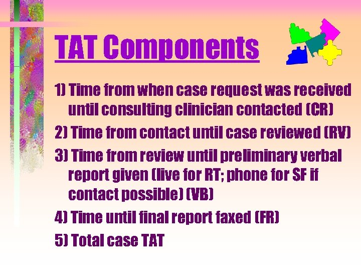 TAT Components 1) Time from when case request was received until consulting clinician contacted