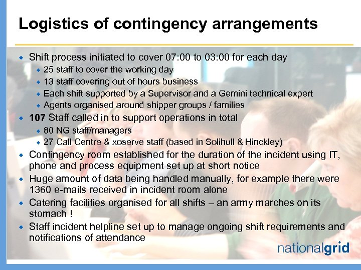 Logistics of contingency arrangements ® Shift process initiated to cover 07: 00 to 03: