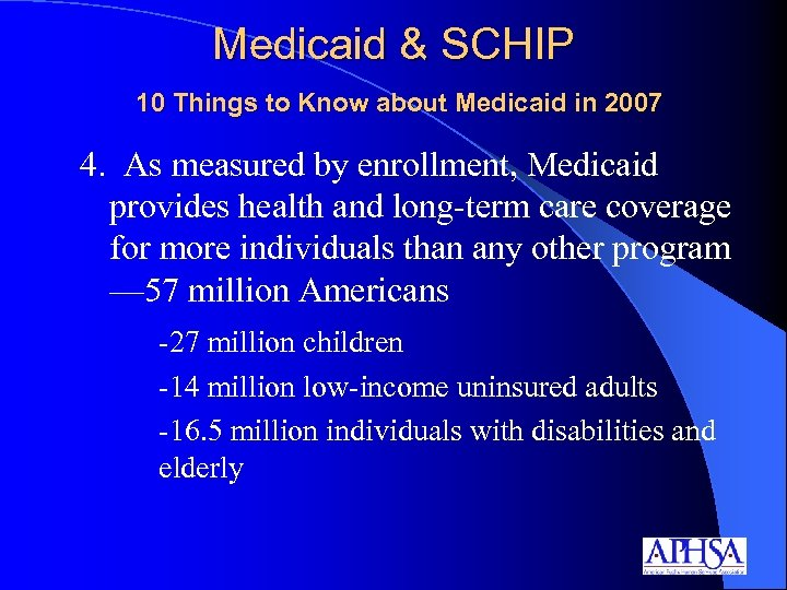 Medicaid & SCHIP 10 Things to Know about Medicaid in 2007 4. As measured