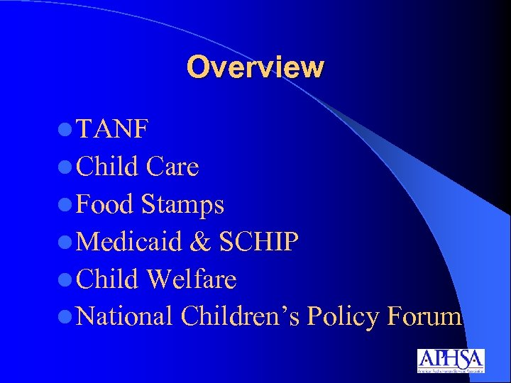 Overview l TANF l Child Care l Food Stamps l Medicaid & SCHIP l