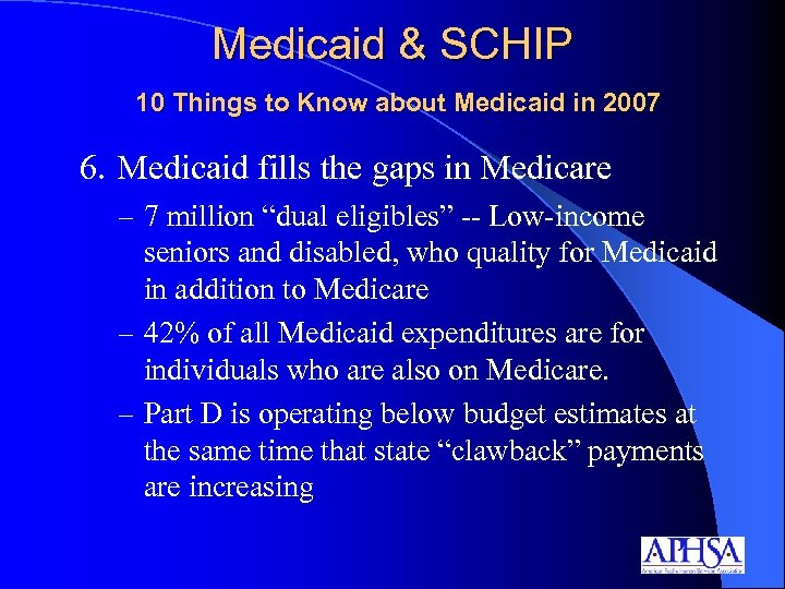 Medicaid & SCHIP 10 Things to Know about Medicaid in 2007 6. Medicaid fills