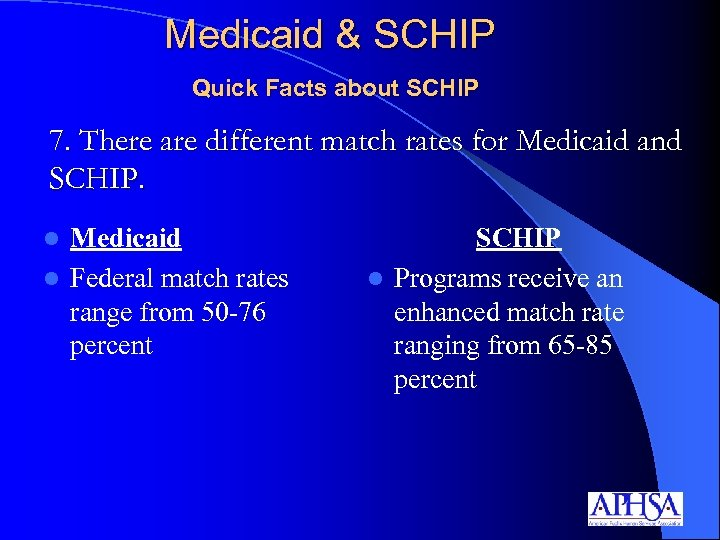Medicaid & SCHIP Quick Facts about SCHIP 7. There are different match rates for