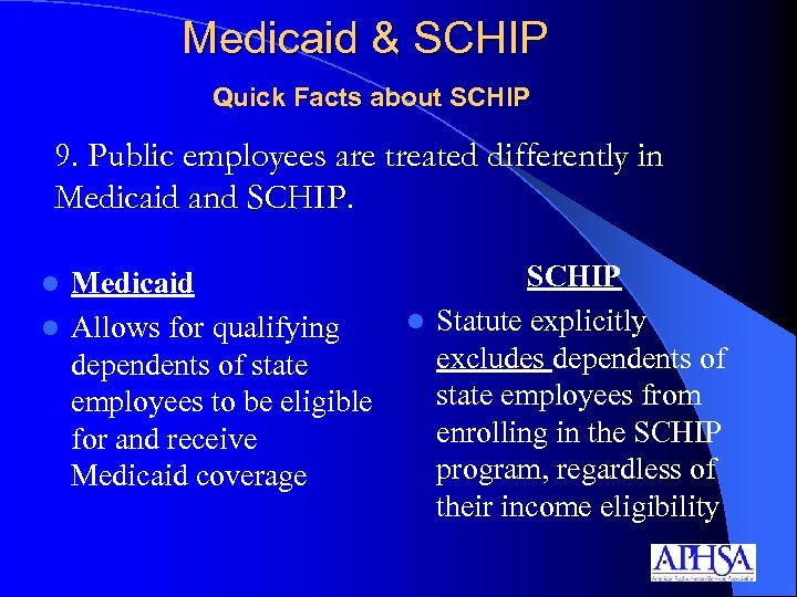 Medicaid & SCHIP Quick Facts about SCHIP 9. Public employees are treated differently in