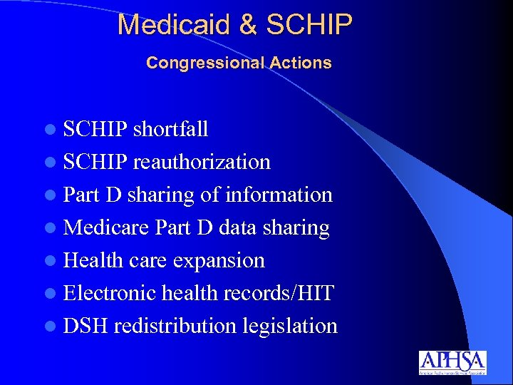 Medicaid & SCHIP Congressional Actions l SCHIP shortfall l SCHIP reauthorization l Part D
