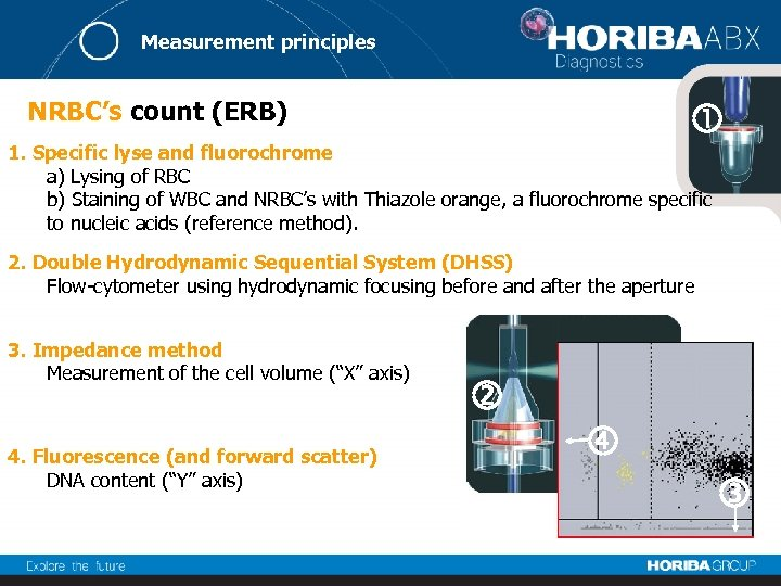 Measurement principles NRBC's count (ERB) 1. Specific lyse and fluorochrome a) Lysing of RBC