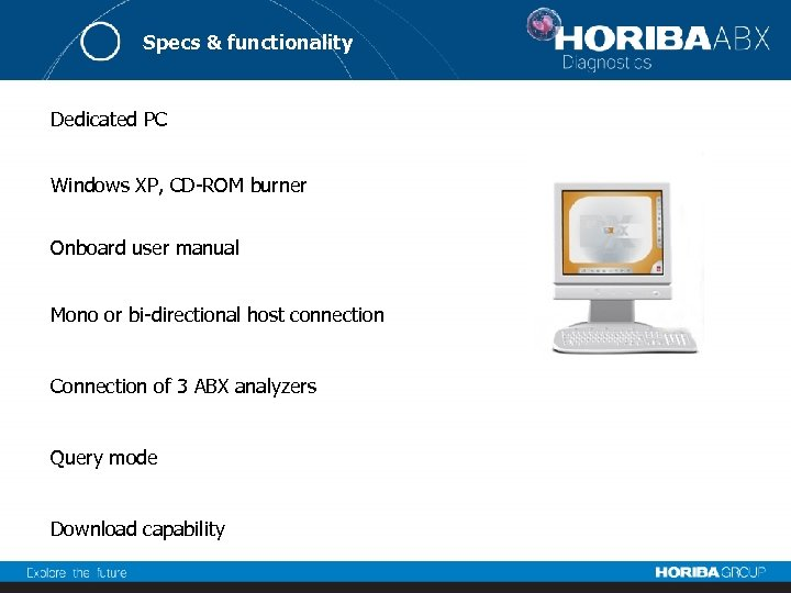 Specs & functionality Dedicated PC Windows XP, CD-ROM burner Onboard user manual Mono or