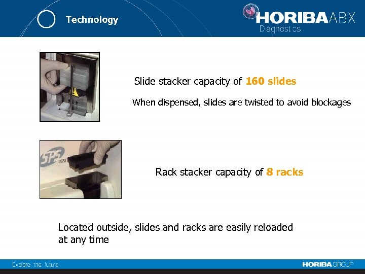 Technology Slide stacker capacity of 160 slides When dispensed, slides are twisted to avoid