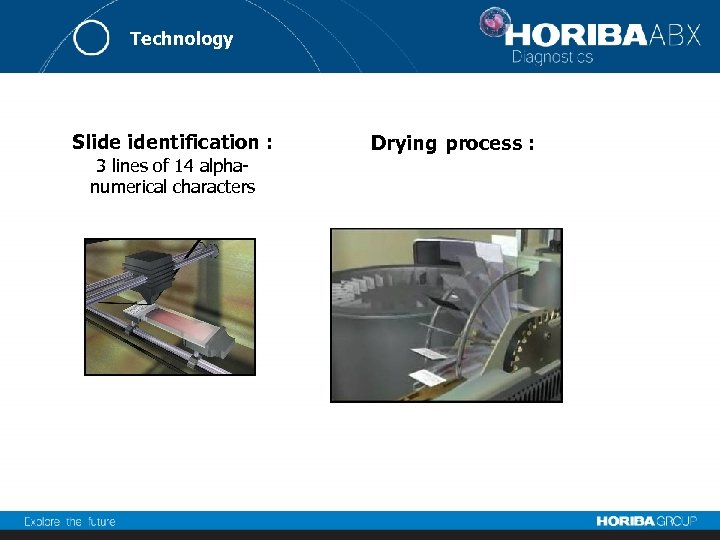 Technology Slide identification : 3 lines of 14 alphanumerical characters Drying process :