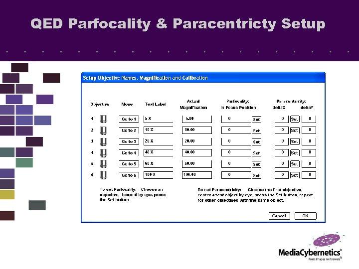 QED Parfocality & Paracentricty Setup