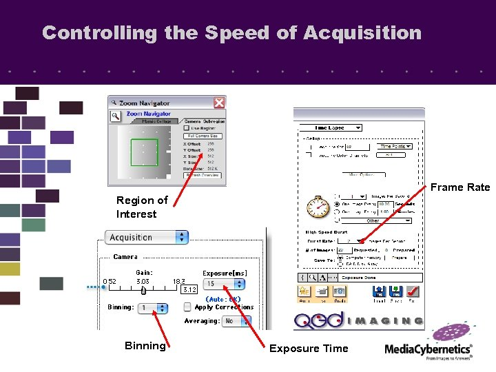 Controlling the Speed of Acquisition Frame Rate Region of Interest Binning Exposure Time