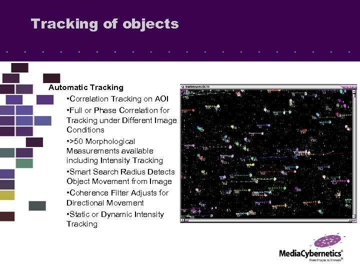 Tracking of objects Automatic Tracking • Correlation Tracking on AOI • Full or Phase