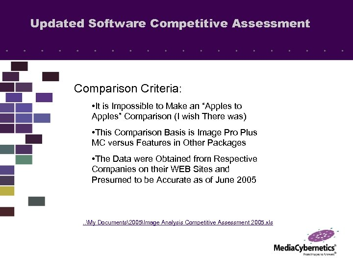 "Updated Software Competitive Assessment Comparison Criteria: • It is Impossible to Make an ""Apples"