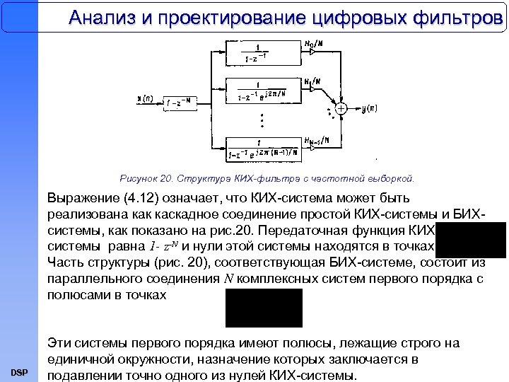 Анализ и проектирование цифровых фильтров Рисунок 20. Структура КИХ-фильтра с частотной выборкой. Выражение (4.
