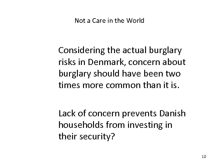 Not a Care in the World Considering the actual burglary risks in Denmark, concern