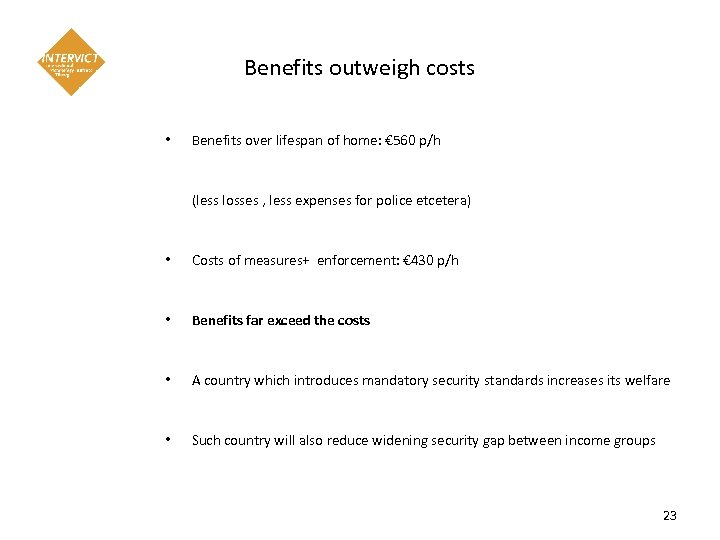 Benefits outweigh costs • Benefits over lifespan of home: € 560 p/h (less losses