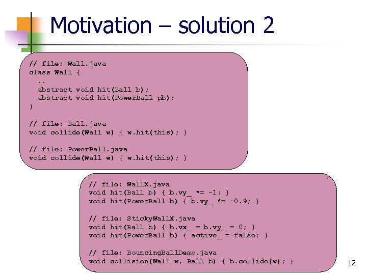 Motivation – solution 2 // file: Wall. java class Wall {. . abstract void