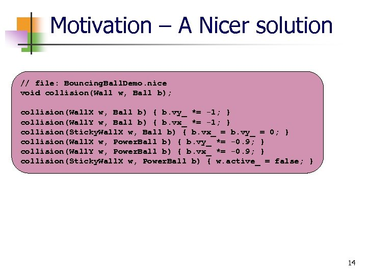 Motivation – A Nicer solution // file: Bouncing. Ball. Demo. nice void collision(Wall w,