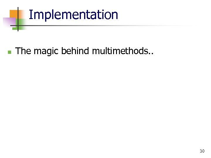Implementation n The magic behind multimethods. . 30