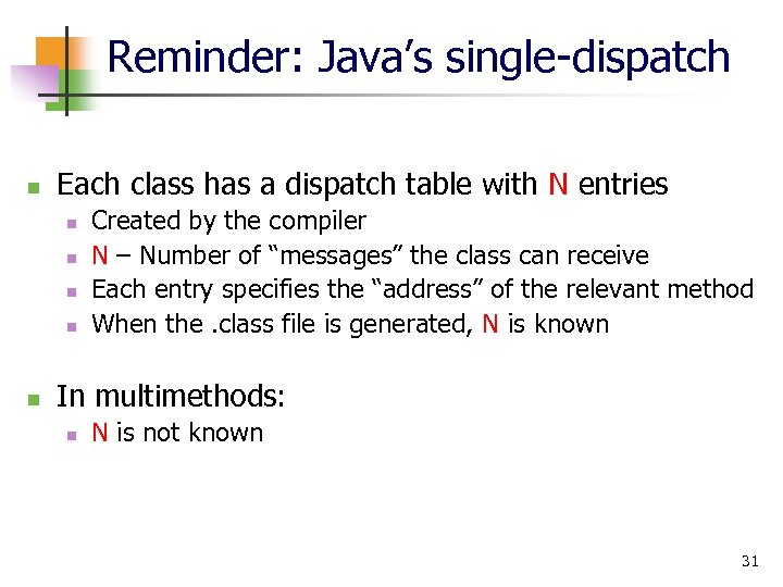 Reminder: Java's single-dispatch n Each class has a dispatch table with N entries n