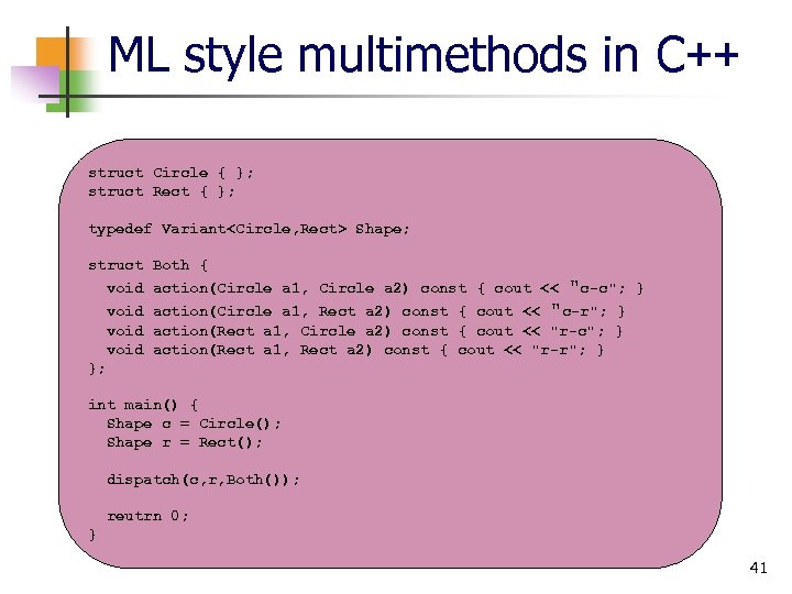 ML style multimethods in C++ struct Circle { }; struct Rect { }; typedef