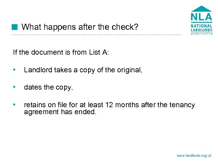 What happens after the check? If the document is from List A: • Landlord