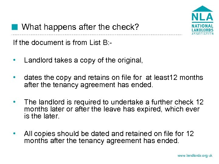 What happens after the check? If the document is from List B: - •