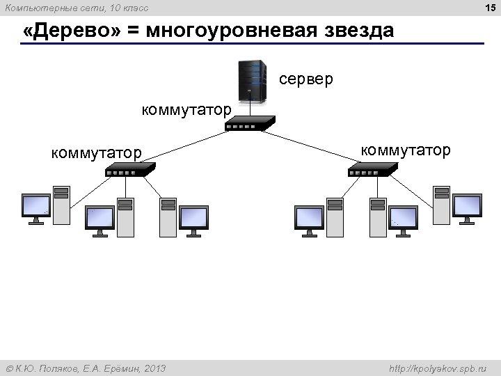 15 Компьютерные сети, 10 класс «Дерево» = многоуровневая звезда сервер коммутатор К. Ю. Поляков,