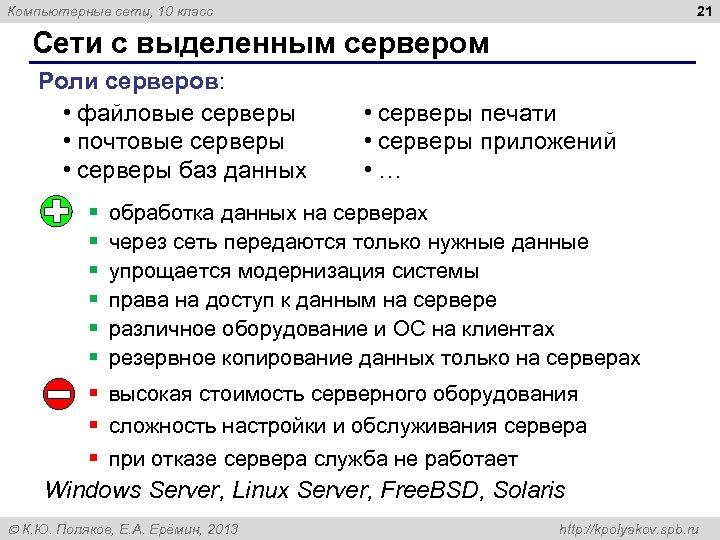21 Компьютерные сети, 10 класс Сети с выделенным сервером Роли серверов: • файловые серверы