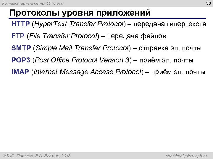 33 Компьютерные сети, 10 класс Протоколы уровня приложений HTTP (Hyper. Text Transfer Protocol) –