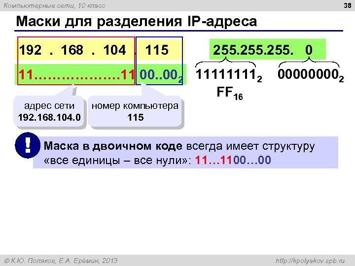 38 Компьютерные сети, 10 класс Маски для разделения IP адреса 192 . 168 .