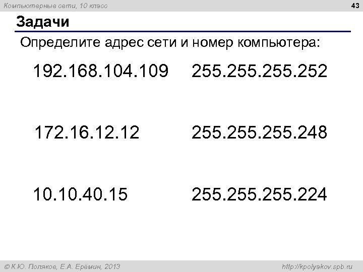 43 Компьютерные сети, 10 класс Задачи Определите адрес сети и номер компьютера: 192. 168.