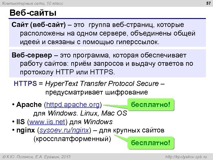 57 Компьютерные сети, 10 класс Веб сайты Сайт (веб сайт) – это группа веб-страниц,