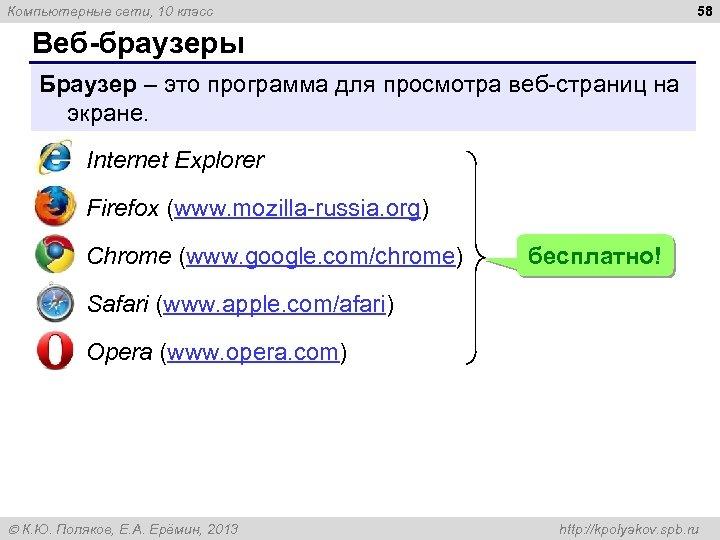 58 Компьютерные сети, 10 класс Веб браузеры Браузер – это программа для просмотра веб-страниц