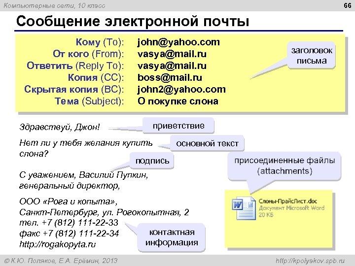 66 Компьютерные сети, 10 класс Сообщение электронной почты Кому (To): john@yahoo. com От кого