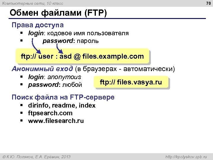 70 Компьютерные сети, 10 класс Обмен файлами (FTP) Права доступа § login: кодовое имя