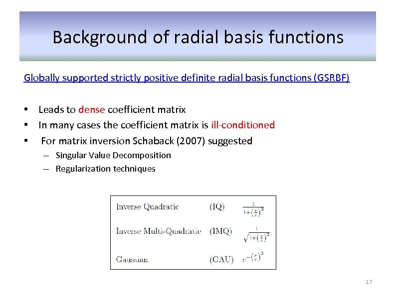 Background of radial basis functions Globally supported strictly positive definite radial basis functions (GSRBF)